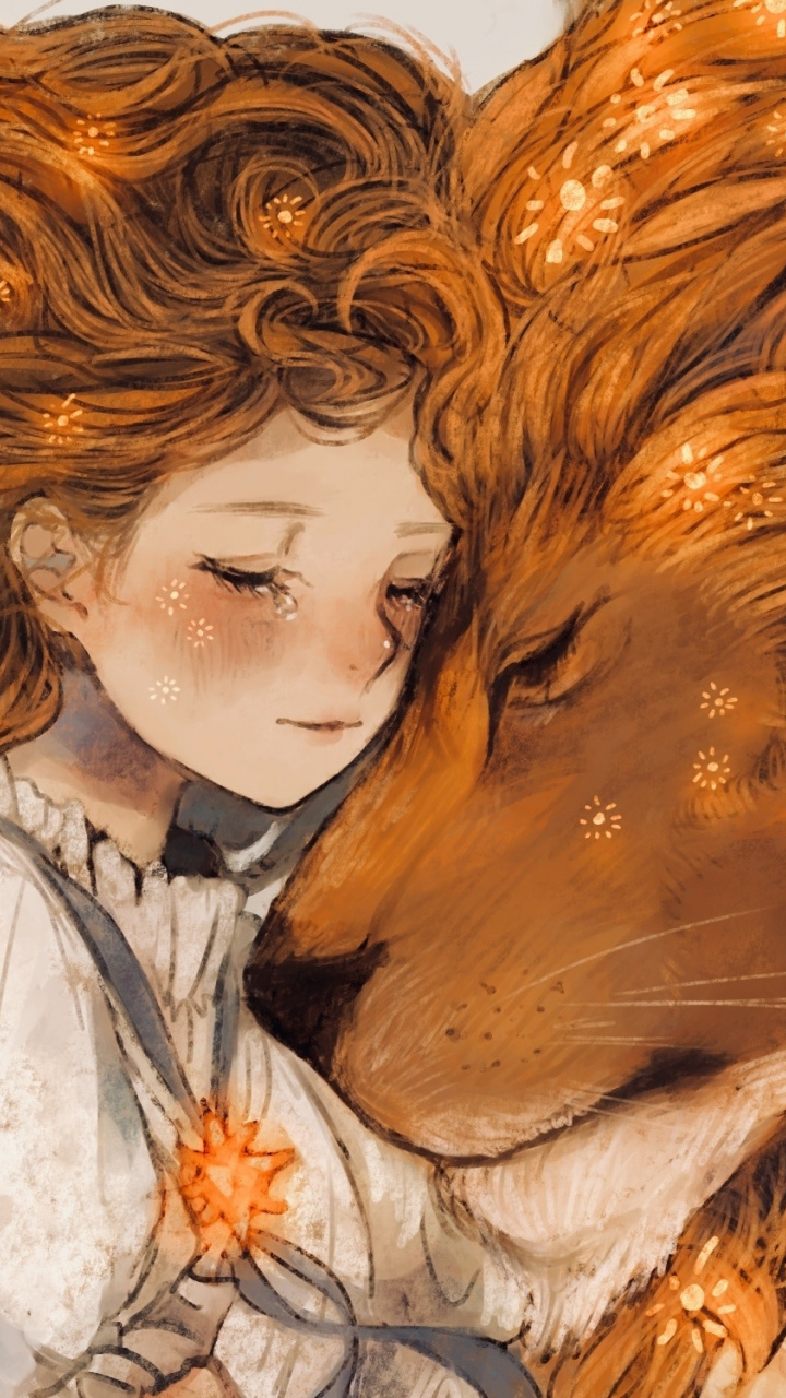 Download 720x1280 wallpaper Lion and girl, fantasy