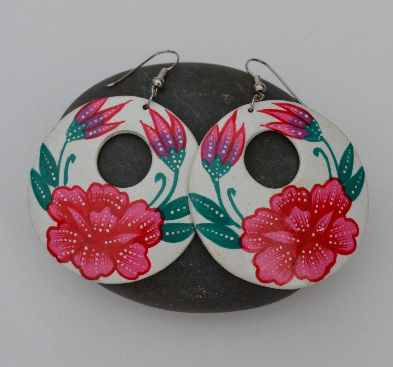 Vintage Mexican Pink Flowers Painted Earrings Circle Dia de los Muertos Sugar Skull Traditional Mexico Earrings. $36.00, via Etsy.