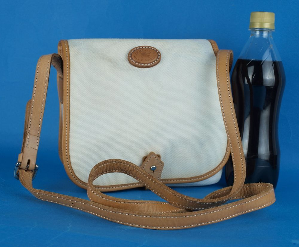95d60fa21fb0 Auth Burberrys Blue Label White Cotton   Brown Leather Mini Shoulder Bag  Purse  fashion
