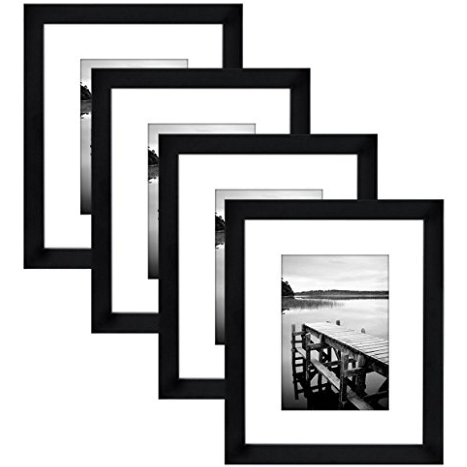 4-Pack, 8x10 Black Picture Frames - Made to Display Pictures 5x7 ...