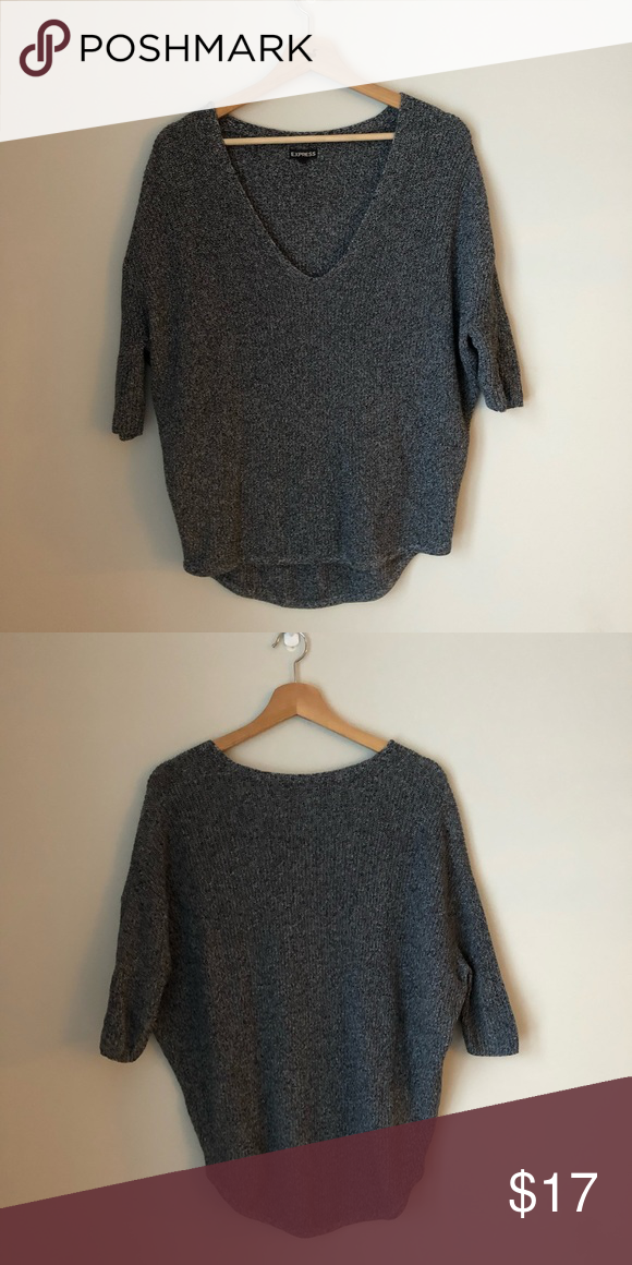 41662cd43d6 Express Knit Sweater Express black and gray women s oversized v neck sweater  Express Sweaters V-Necks