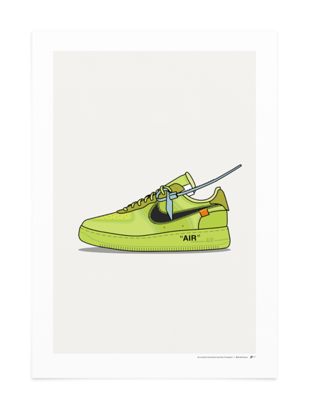 Off White Air Force 1 Volt Nike Art Sneaker Art Sneaker Posters