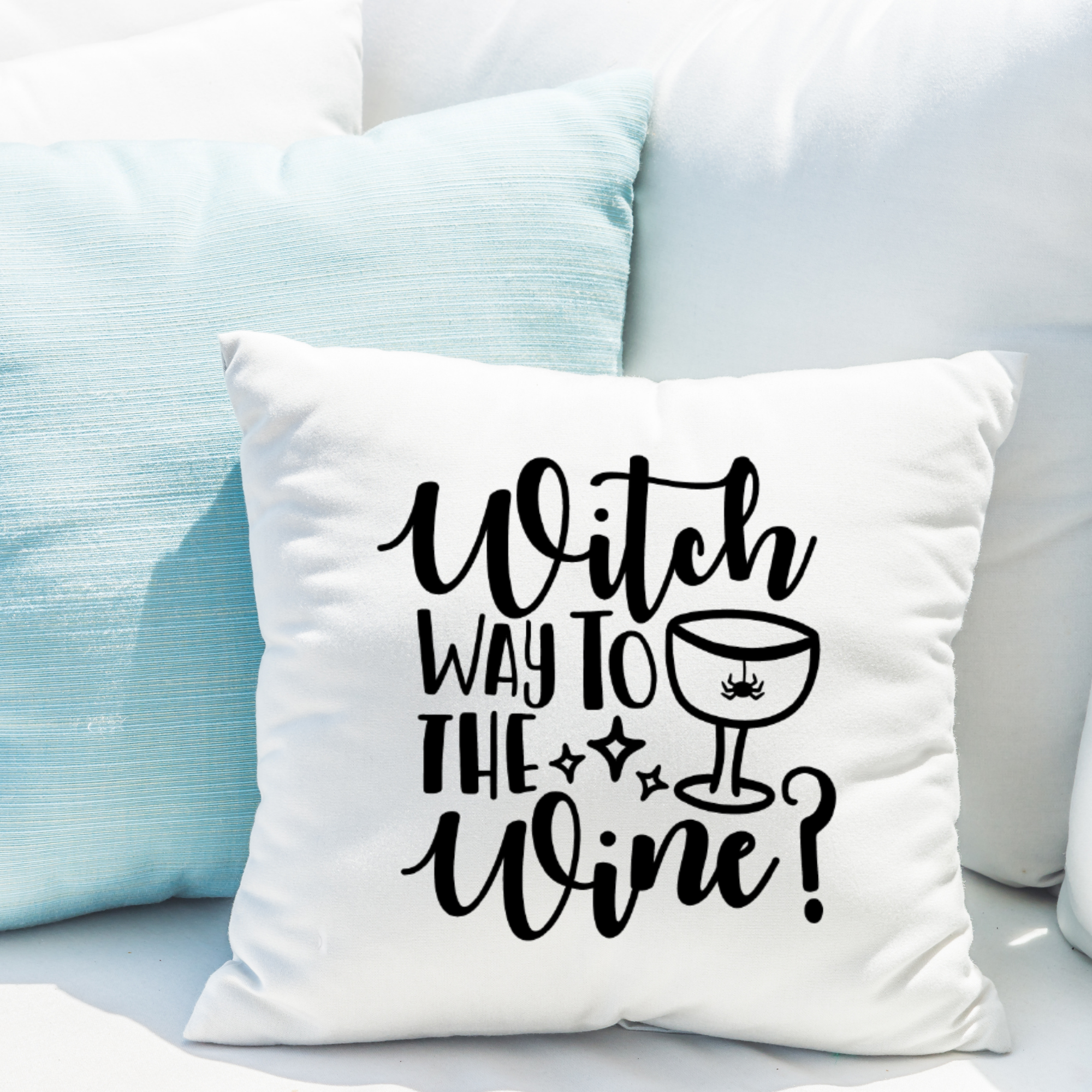 Funny Halloween Pillow Cover, Wine Lover's Gift