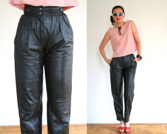 Pleated leather pants in black high waist small by VintageCriminal ...