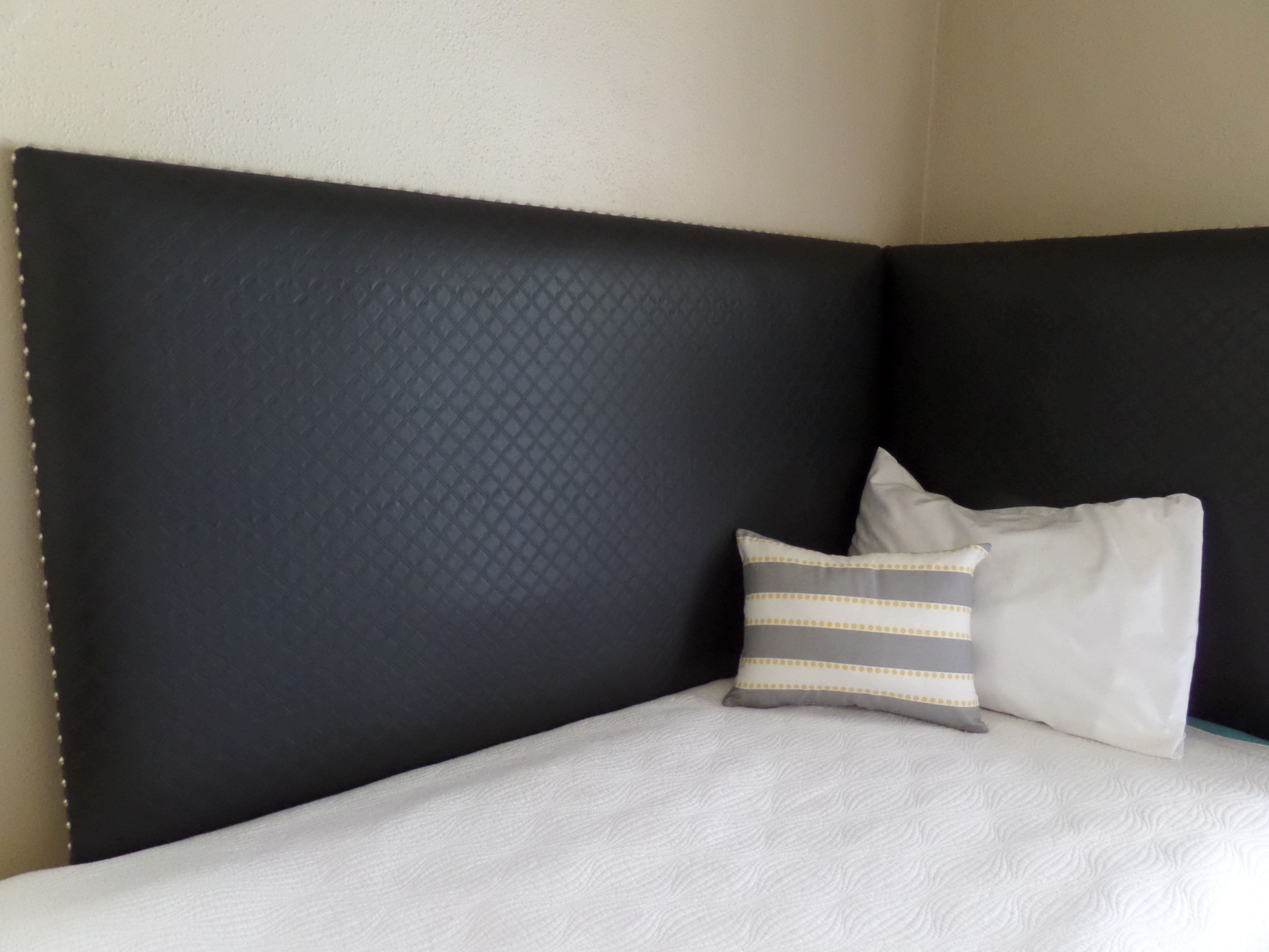 Corner Headboard Daybed Black Faux Leather Silver Nail Heads Custom  Upholstered Wall Mounted Great Ideas