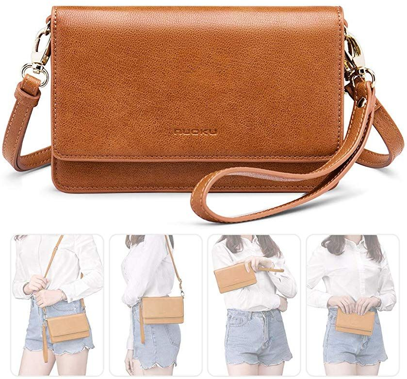 Women Small Crossbody Bag Cellphone Purse Wallet Card Wristlet Leather shoulder Bag Leather Clutch