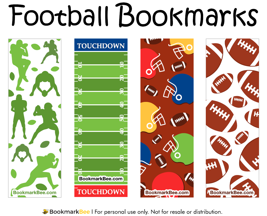 http://bookmarkbee.com/bookmark/football/ | Football Printables ...