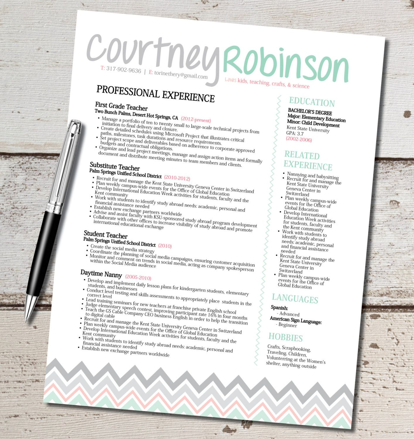 The Courtney Resume Design Teacher Marketing by
