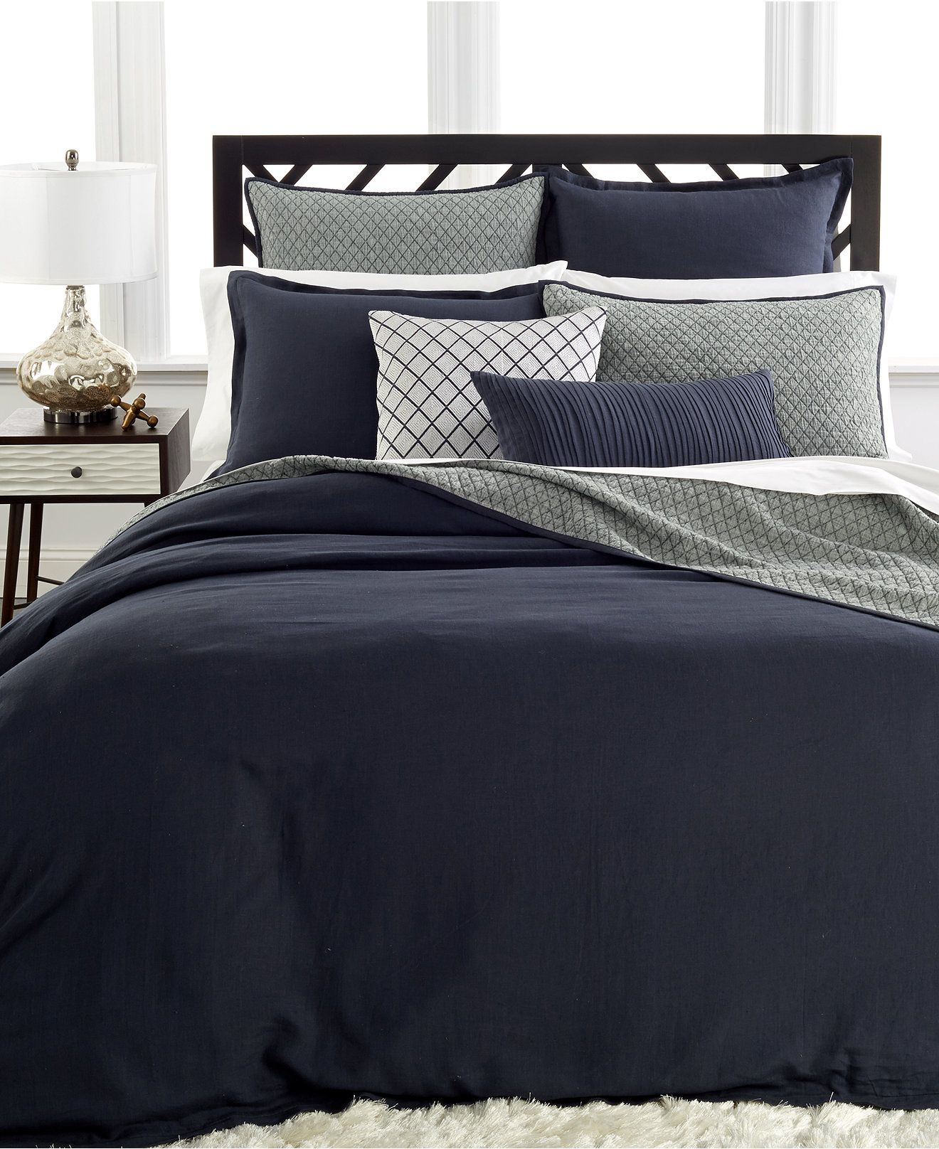 Closeout Hotel Collection Linen Navy Bedding Collection Bedding