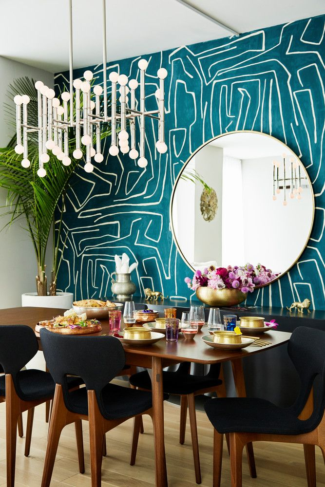 Modern New York Home With Indian Design Elements Accent Wall Colors Dining Room Wallpaper Accent Walls In Living Room
