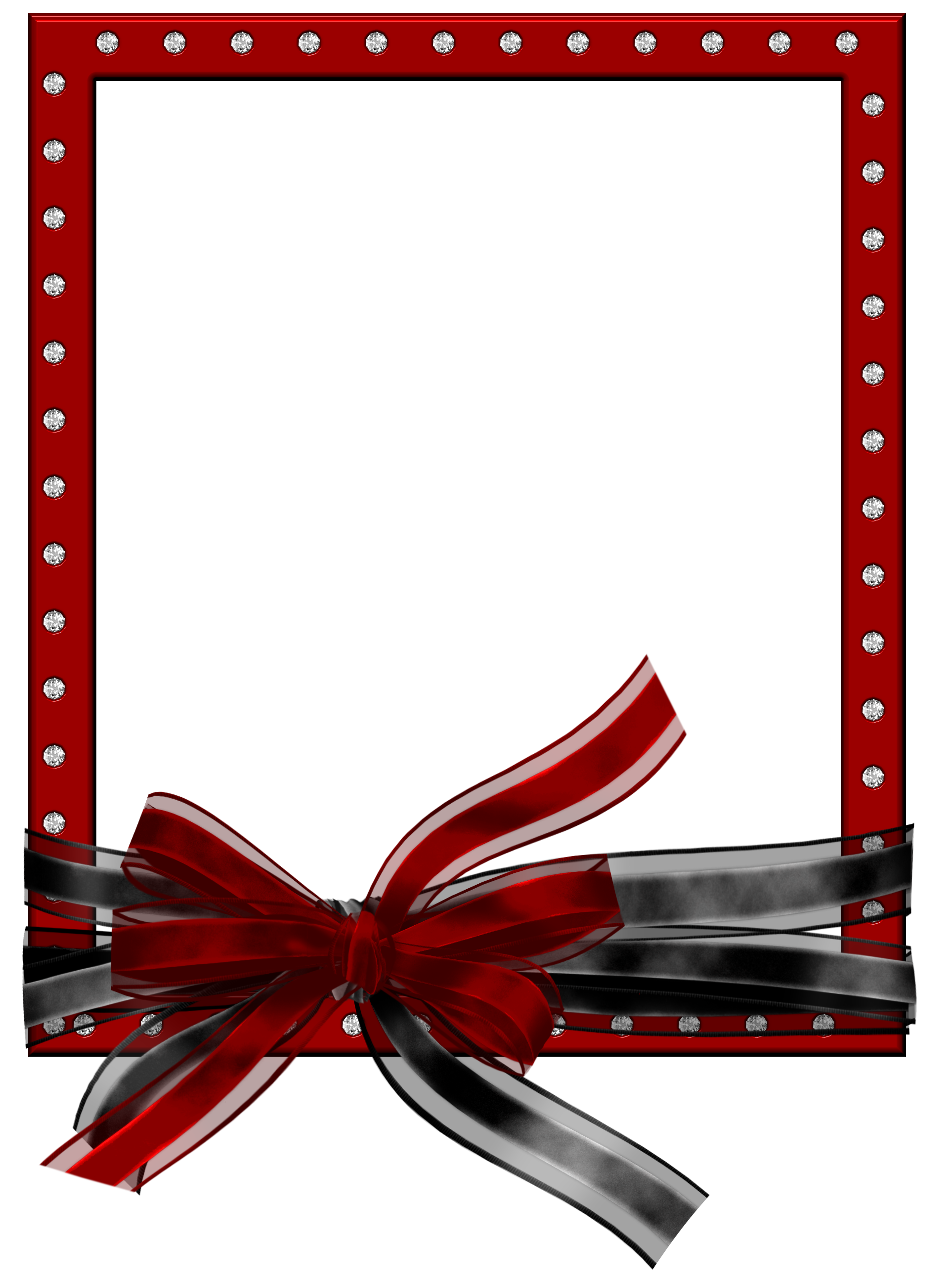 Red PNG Photo Frame with Black and Red Bow Gallery