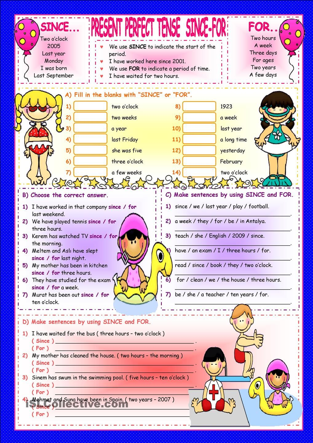 Present Perfect Tense-SINCE-FOR | Present perfect | Pinterest ...