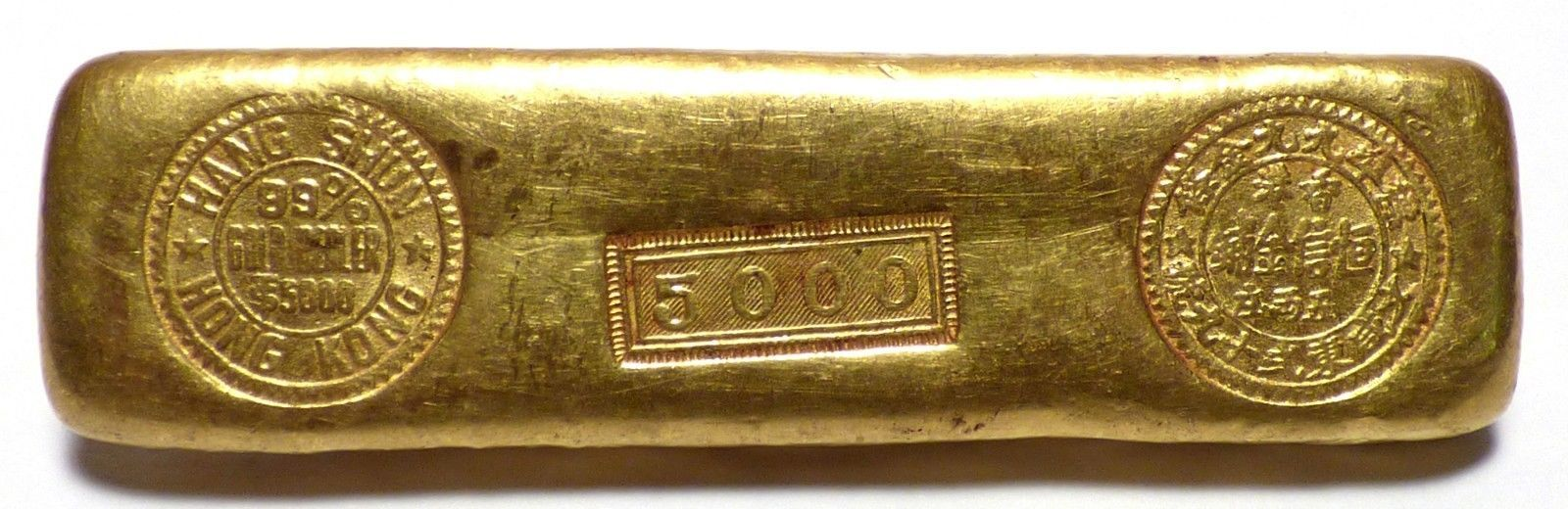 Hong Kong Hang Shun Gold Dealer 5 Tael 6 01 Oz 9999 Fine Gold Bar Rare