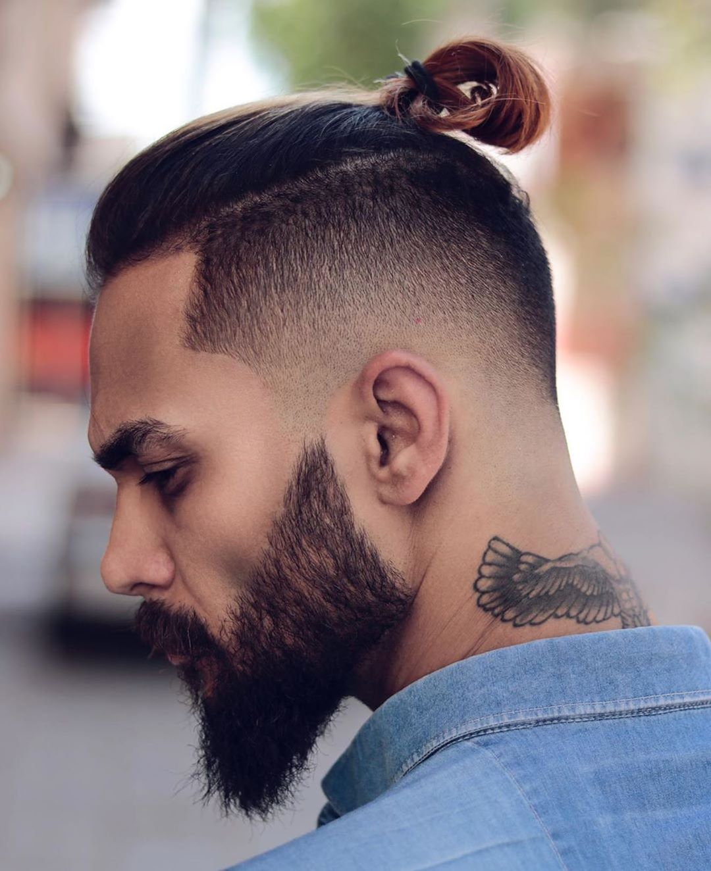 Taper Fade with Man Bun – HAIR STYLE