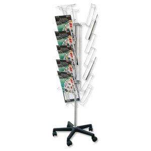 Deflecto Literature Display Stand Wire on Castors 3 Sides