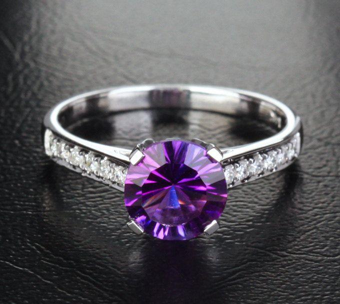 7.3mm+Dark+Purple+Amethyst++H/SI+Diamond+14K+White+Gold+by+EasyGem,+$330.00