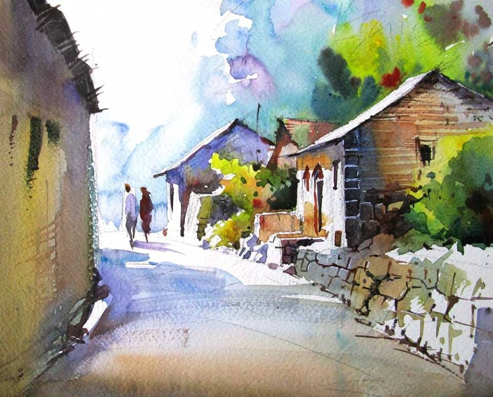 A Road To Watercolor Landscape Paintings Watercolor