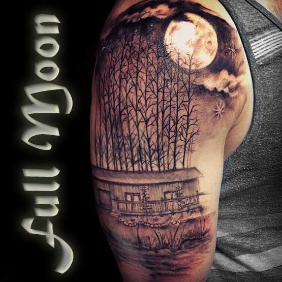 Full Moon Tattoo Designs And Meaning Full Tattoo Full Moon Tattoo Moon Tattoo Full Tattoo