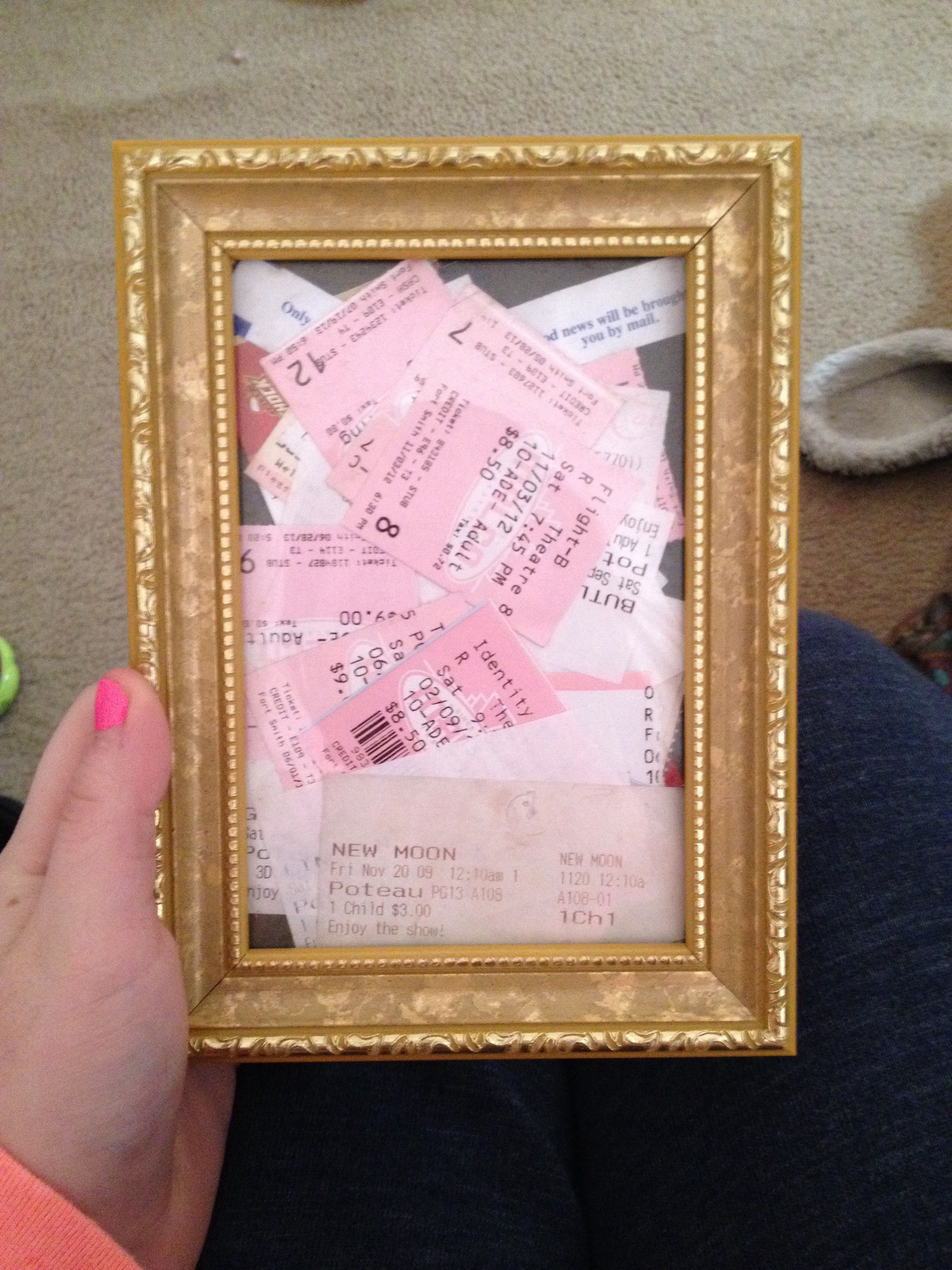 movie ticket stub wedding invitation%0A Put your movie tickets in a picture frame  Absolutely love this idea