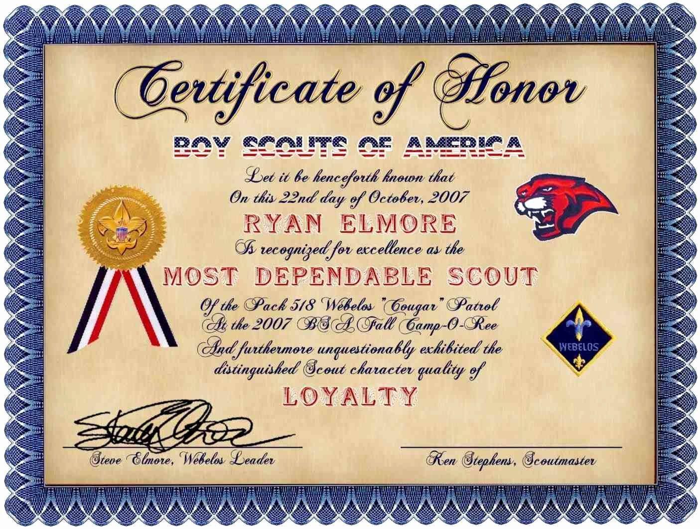 Pin On Cub Scout Certificates Cub scout award certificate template