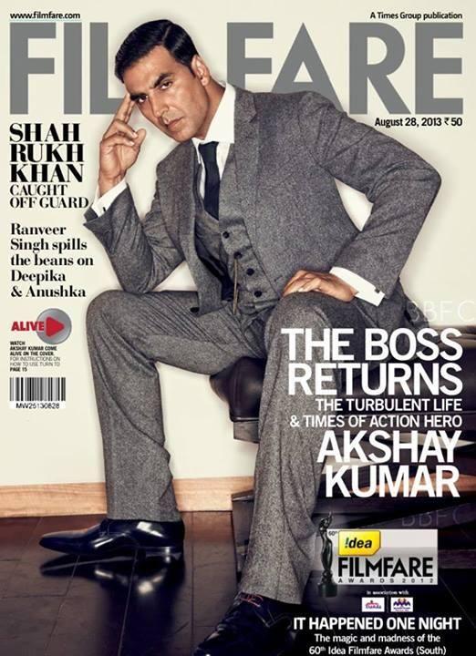 Akshay Kumar - Filmfare Magazine Cover [India] (28 August 2013)
