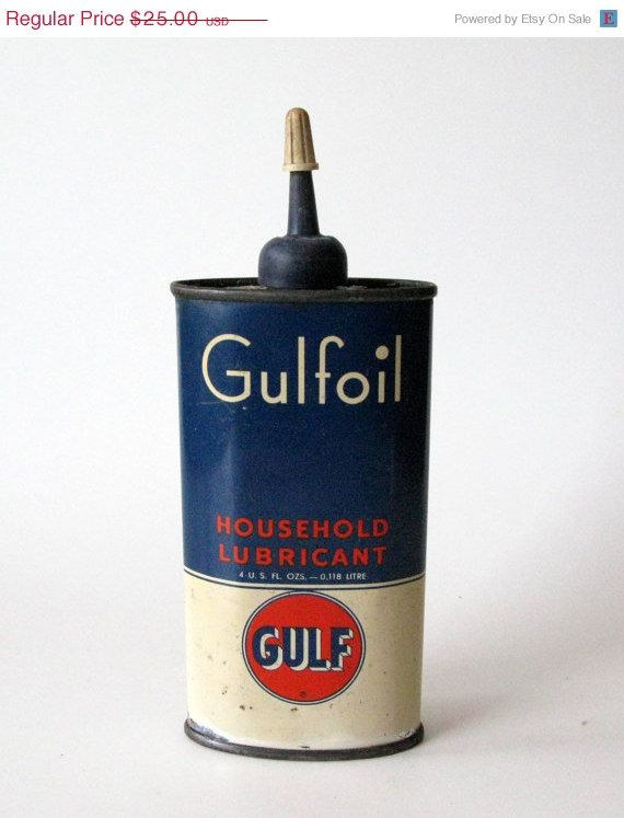 Vintage Oil Can, Gulfoil Household Lubricant Oil Can | for