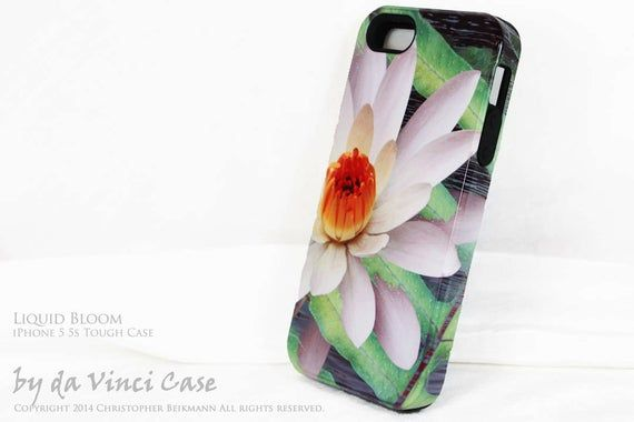 Lotus iPhone 5s SE Case – Green and White Floral iPhone 5s SE Cover – Sun Bloom –  Lotus Blossom TOU