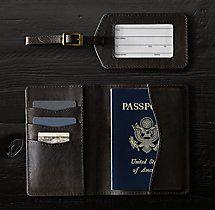 Italian Leather Passport Cover & Luggage Tag Set - Walnut