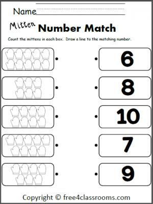 free winter mitten number matching 6 10 terrific for math teacher ideas pinterest math. Black Bedroom Furniture Sets. Home Design Ideas