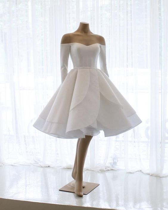 Short Prom Dresses Ruffle Ball Gown With Long Sleeves Cr 4403 Cocktail Dress Wedding Short Wedding Gowns Ball Gown Wedding Dress