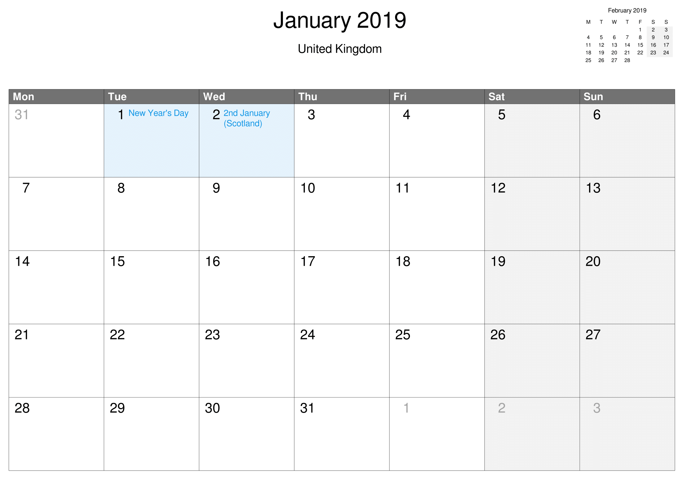 Printable January Calendar Uk