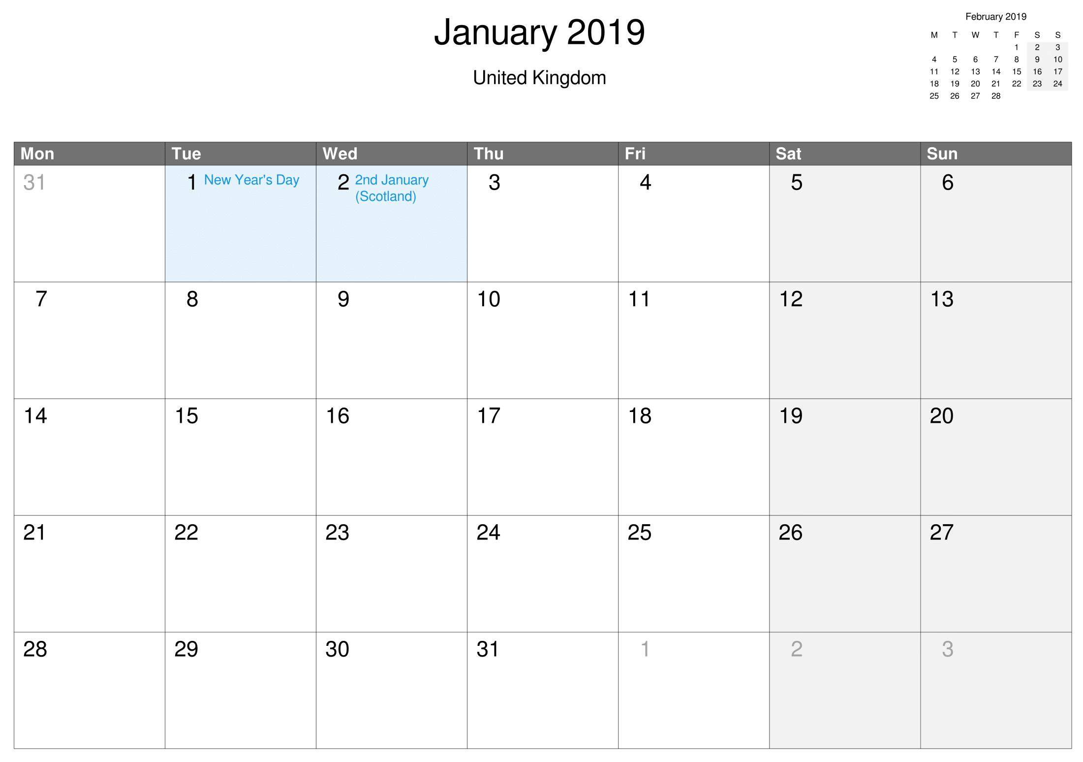 Printable January Calendar Uk