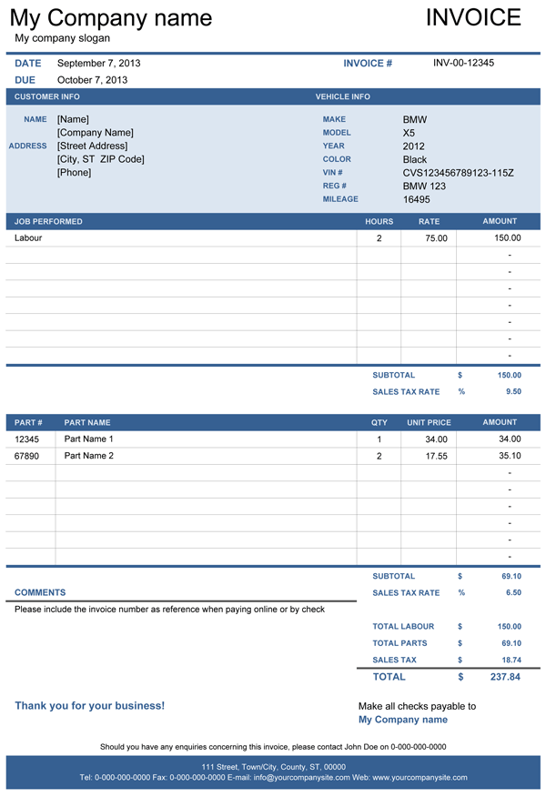 vehicle repair invoice | office life | pinterest | cars, templates, Invoice templates