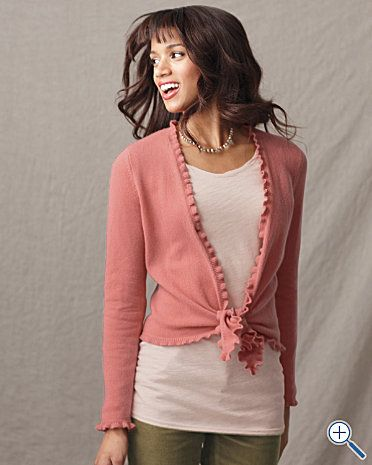 Ruffle Edge Tie Front Cashmere Sweater   Clothes, Clothes