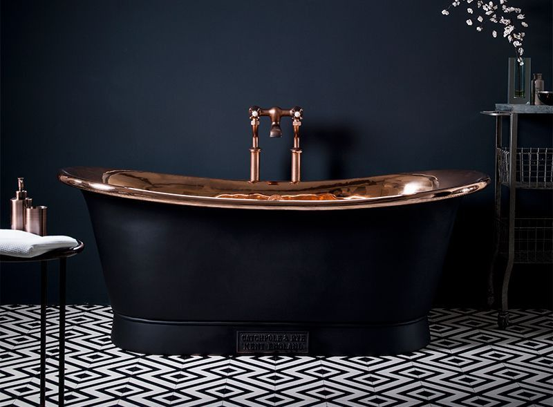 Black And Copper Bathtub