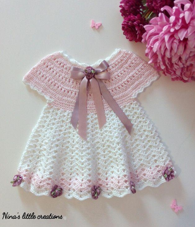 Vestito Per Neonata Lavorato Alluncinetto Con Filato Di Cotone