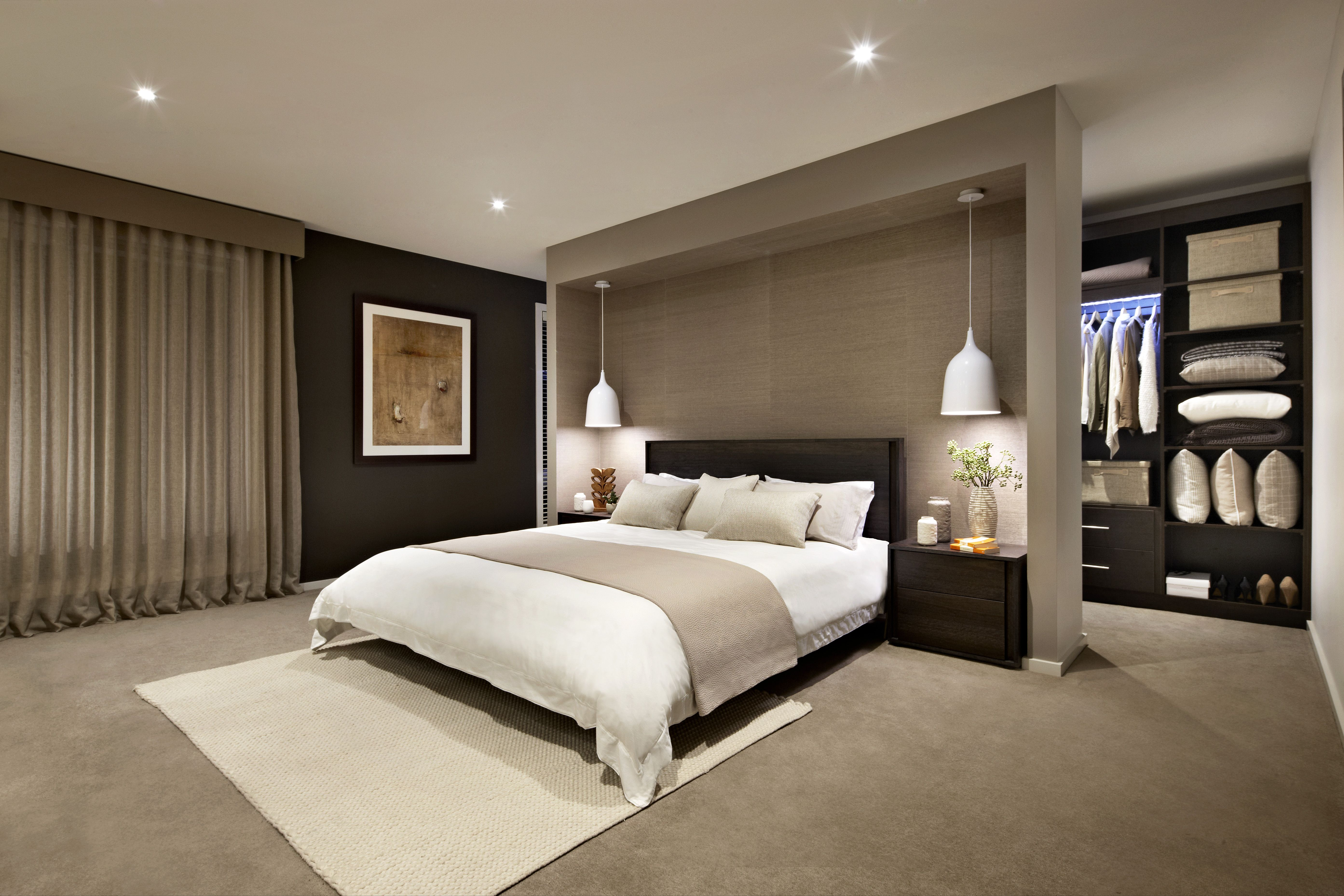 Master bedroom suite decor  King Size Gap bed in Blackbutt timber stained in a charcoal finish