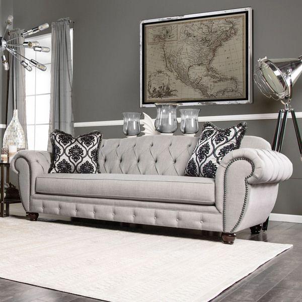 Furniture Of America Augusta Victorian Grey Sofa Grey