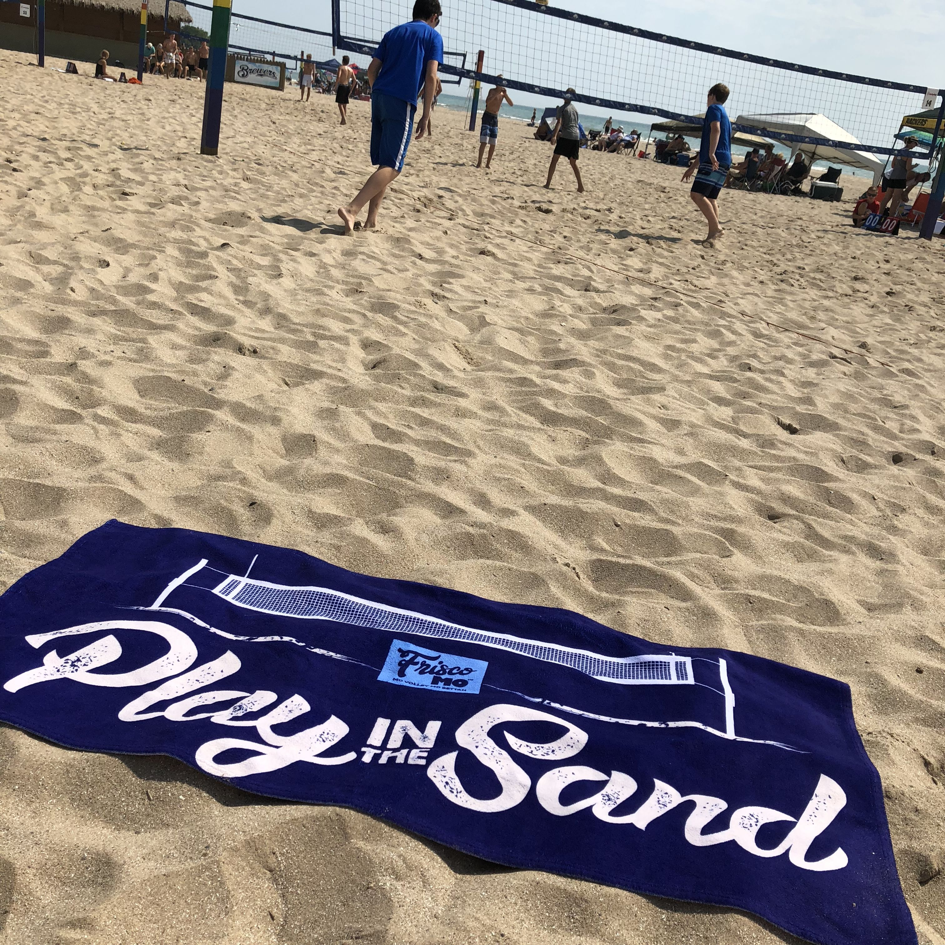 Play In The Sand Volleyball Beach Towel With Images Beach Towel Beach Volleyball Beach