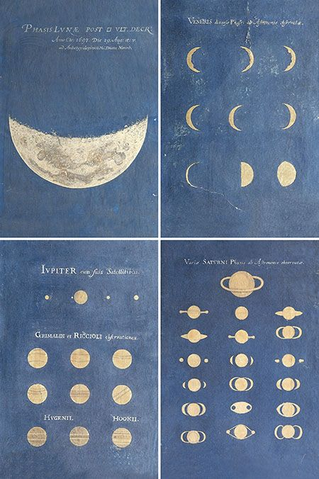 Maria Clara Eimmart (1676-1707)  Phase of the Moon, Phases of Venus, Aspect of Jupiter, Aspect of Saturn, late 17th century  Bologna, Museo della Specola, Università di Bologna, inv. MdS 124e, MdS 124g, MdS 124i, MdS 124l.    Four examples of the set of 12 depictions of heavenly phenomena produced by Eimmart. They show the main discoveries made by Galileo and by astronomers of later generations.