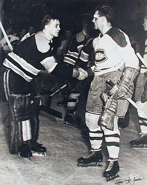 Maurice Richard: Black Eyed Boston Goalie 'Sugar' Jim Henry Shakes Hands With a Bloodied Maurice Richard...