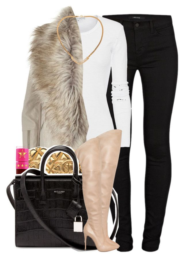 """""""806"""" by tuhlayjuh ❤ liked on Polyvore featuring J Brand, James Perse, River Island, Jeffree Star, Yves Saint Laurent, Casadei, Susan Caplan Vintage, women's clothing, women and female"""
