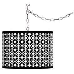 Swag Style Matrix Giclee Shade Plug-In Chandelier