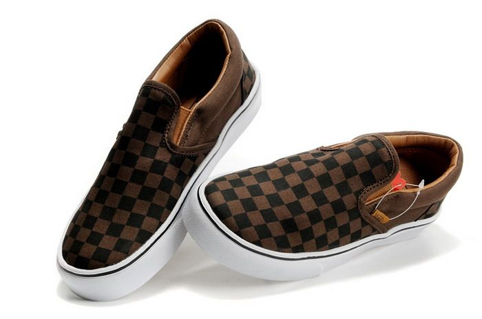 8e703686004157 Womens Vans Classics Black Brown Checkerboard Slip-On Shoes