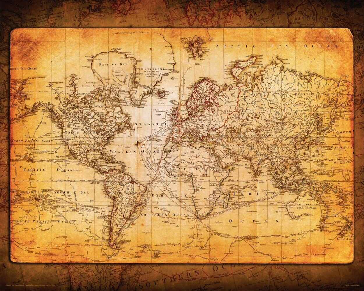 World Map Antique Vintage Old Style Decorative Educational Poster