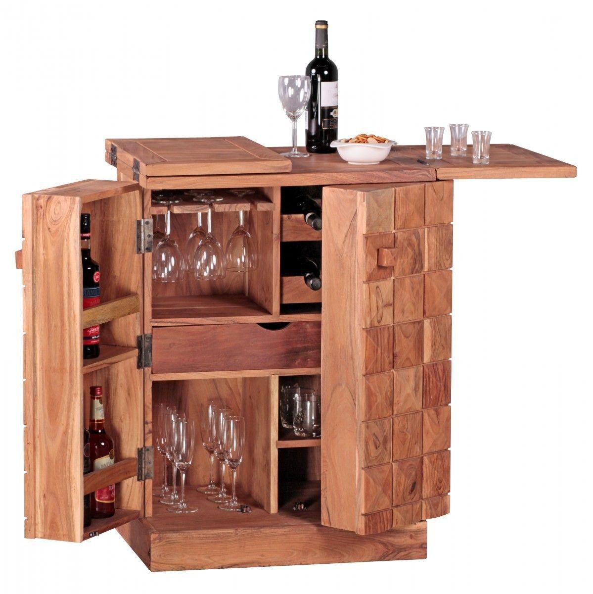 WOHNLING Hausbar Massivholz Akazie Weinbar ausklappbar Vitrine ...