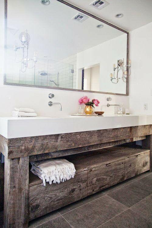 We adore this reclaimed wood bathroom vanity Home Decor