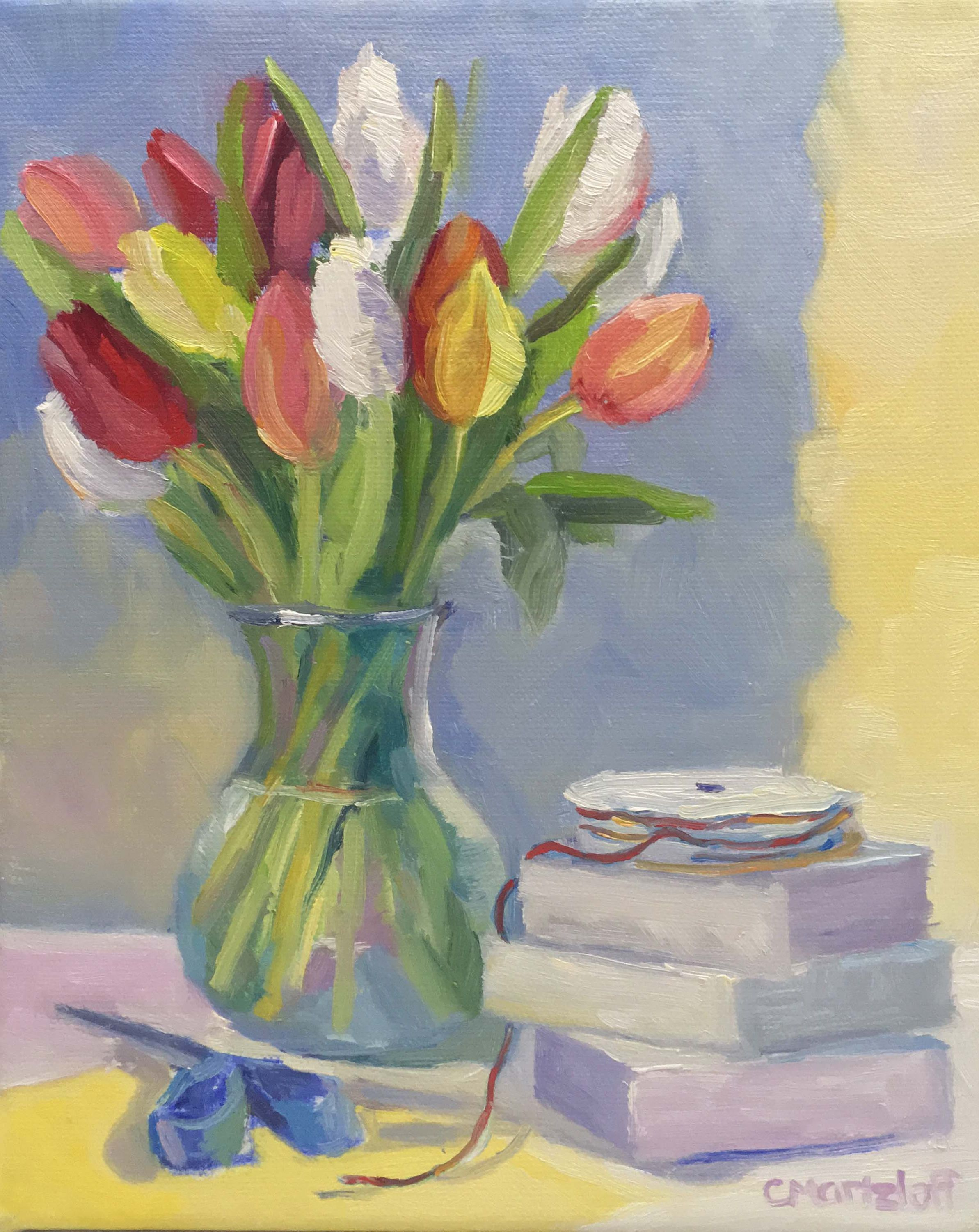 Fresh Tulips Still Life Oil Painting on Canvas Art Flowers Colorful ...