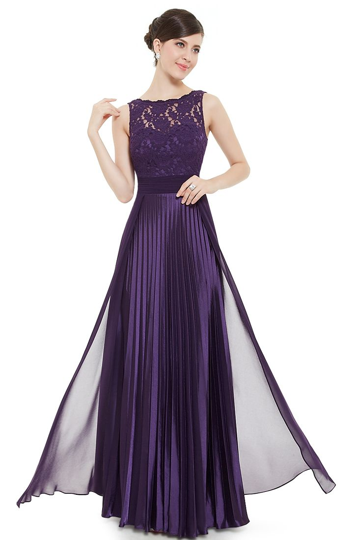 Chiffon Satin and Lace Pleated Evening Gown - Maxi Dresses for ...