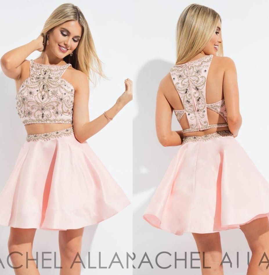 Click to buy ucuc blush pink two pieces short homecoming dress